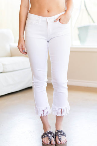Midnight Love Cropped Distressed Fringe Jeans in White