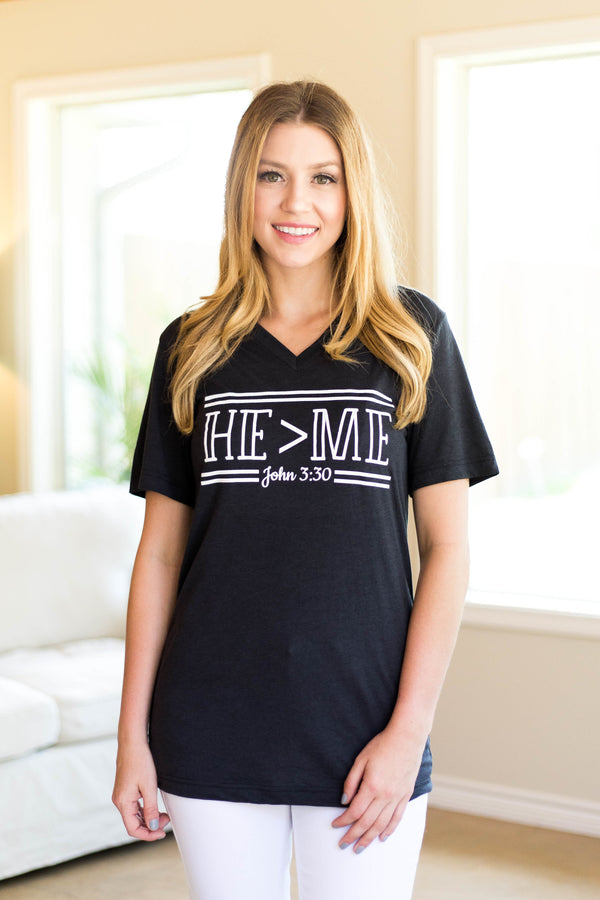 He's Greater Than Me Short Sleeve Tee in Dark Grey