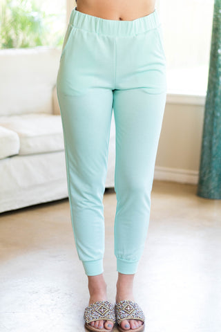 Relaxation At Its Best Fleece Jogger Sweatpants in Seafoam Green