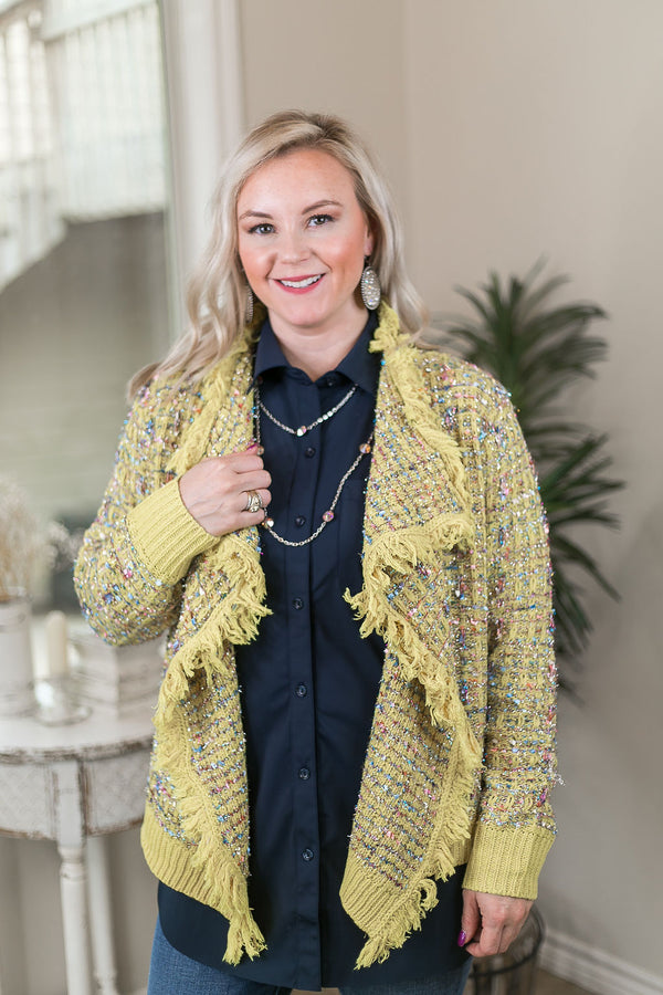 Online Exclusive | How To Dazzle Fringe Trim Tinsel Tweed Cardigan Jacket in Yellow