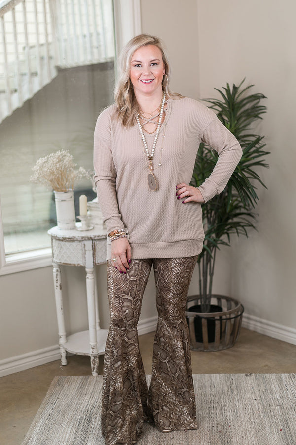 Act Wildly Snakeskin Flare Bell Bottom Pants in Brown
