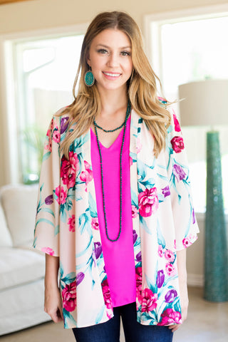 Can't Miss It Floral Print Kimono in Ivory