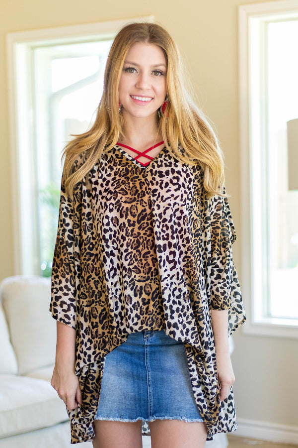 Completely Classic Leopard Cold Shoulder Top