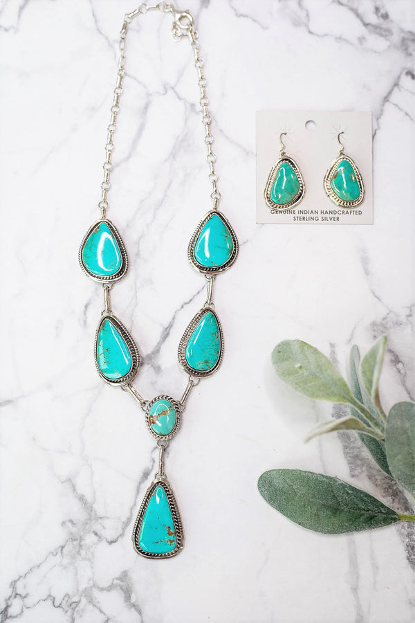Augustine Largo | Handmade Navajo Sterling Silver & Kingman Turquoise Lariat Necklace + Matching Earrings