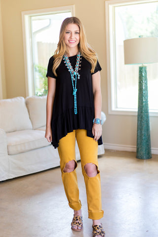 Show It All Distressed Boyfriend Jeans in Mustard Yellow