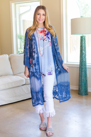Spring Ahead Crochet Lace Duster in Blue