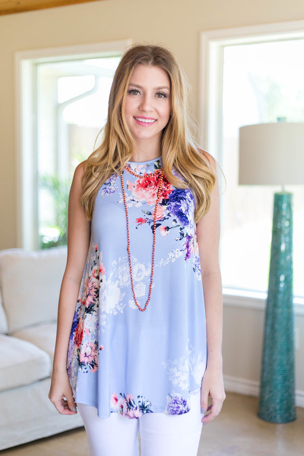 Casual Mood Sleeveless Floral Top in Lilac