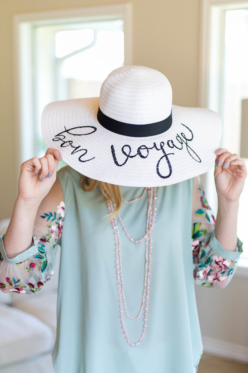 Bon Voyage White Floppy Straw Hat