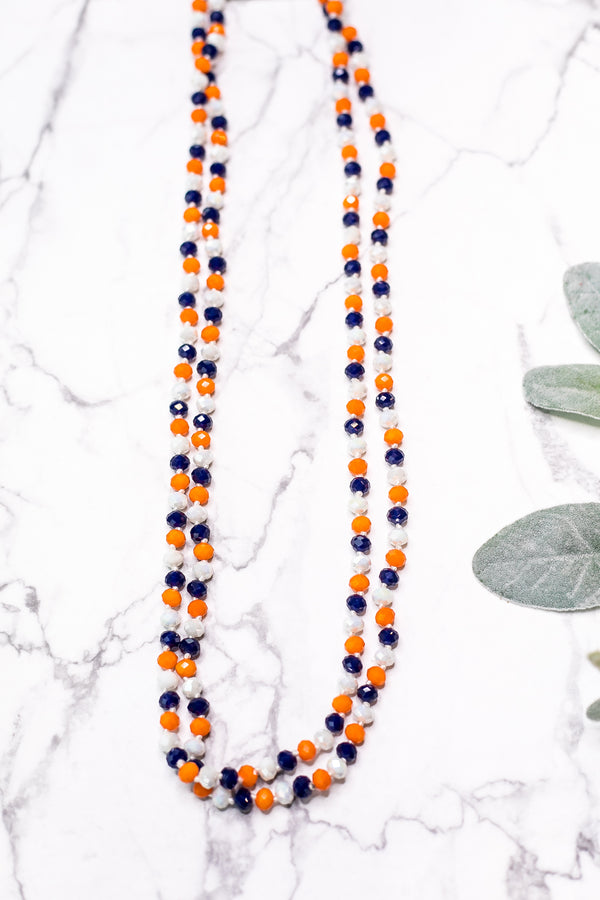 60 Inch Long Layering 8mm Crystal Strand Necklace in Multi Orange and Blue