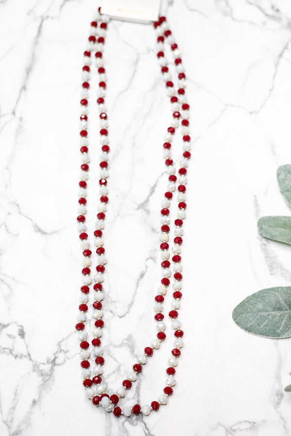 60 Inch Long Layering 8mm Crystal Strand Necklace in Maroon and White
