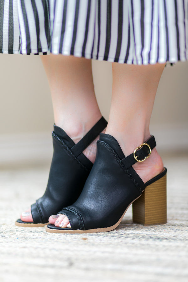 Too Good for You Peep Toe Mule Heels in Black