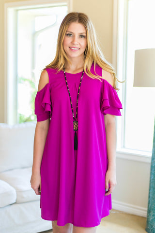 My Favorite Night Ruffle Sleeve Cold Shoulder Dress in Magenta