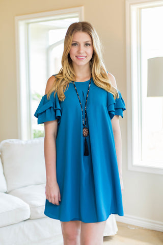 My Favorite Night Ruffle Sleeve Cold Shoulder Dress in Teal