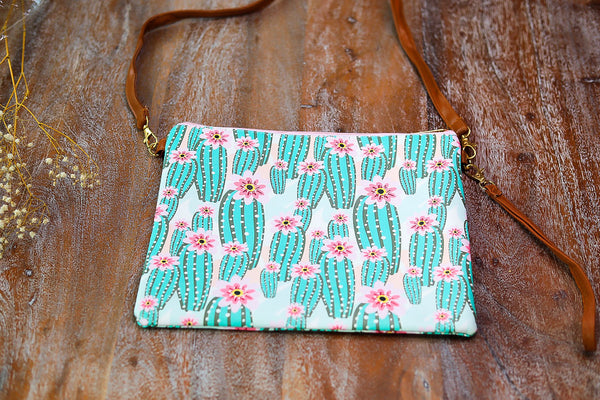 Something New Wristlet or Crossbody Cactus Purse (Pink Zipper)