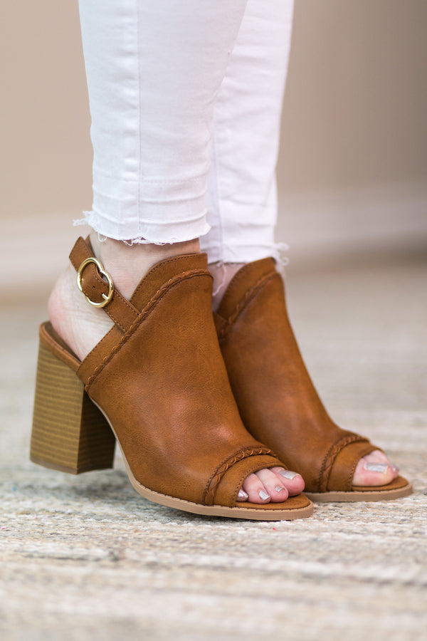 SIZE 6 & 9 | Too Good for You Peep Toe Mule Heels in Cognac - NEW MARKDOWN!!