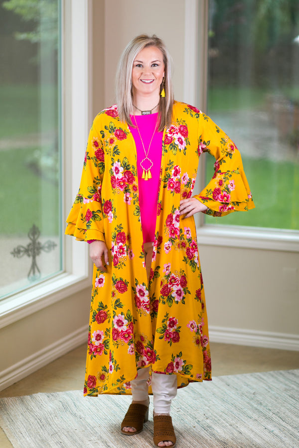 Southern Grace COME AWAY WITH ME Women's trendy missy plus size boutique clothing affordable bohemian  duster kimono floral print cover up bright yellow