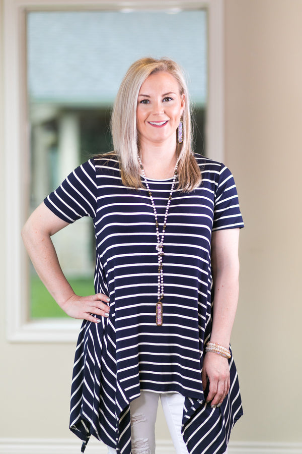Simplified Style Striped Handkerchief Tunic Top in Navy