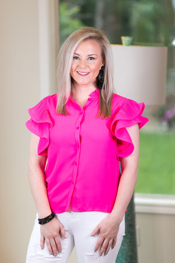Frills and Thrills Button Down Top with Ruffled Sleeves in Hot Pink