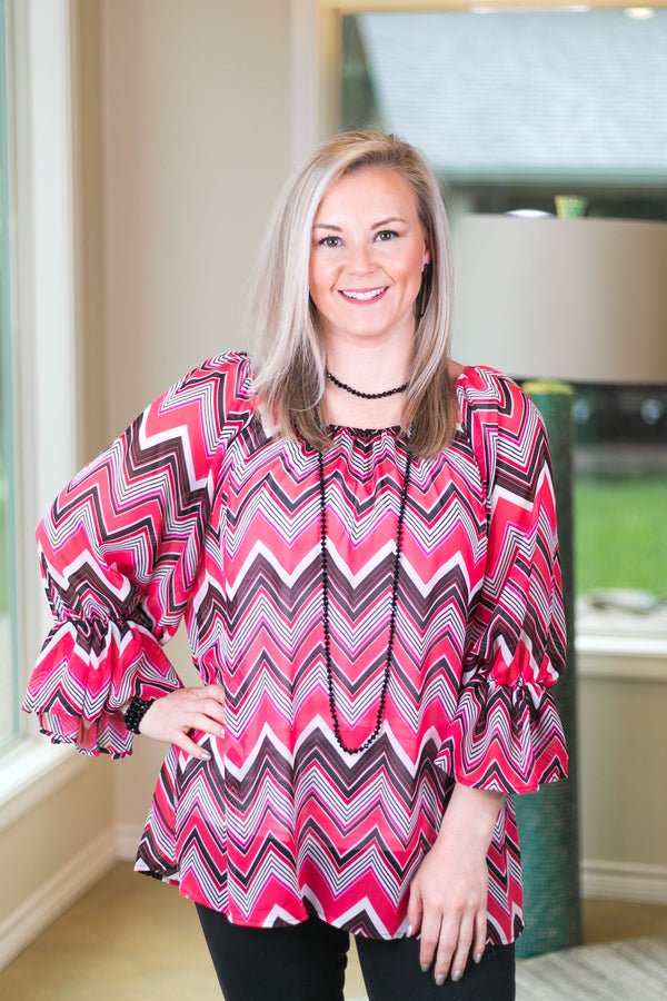 Sheer Chevron Top in Hot Pink, Black and White
