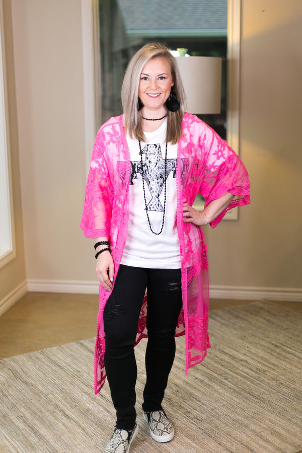 High Expectations Lace Kimono Duster in Neon Pink