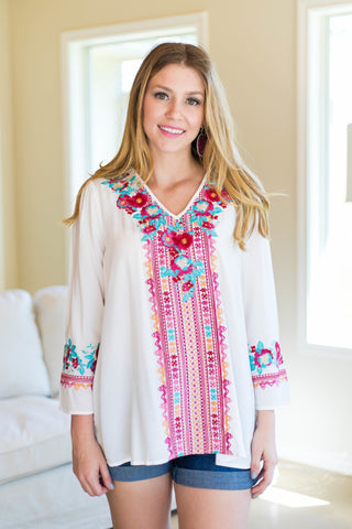 Early Riser Embroidered Top in White