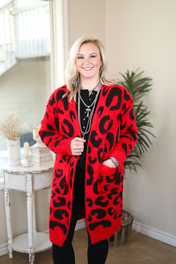 On The Prowl Leopard Print Long Sleeve Eyelash Cardigan in Red