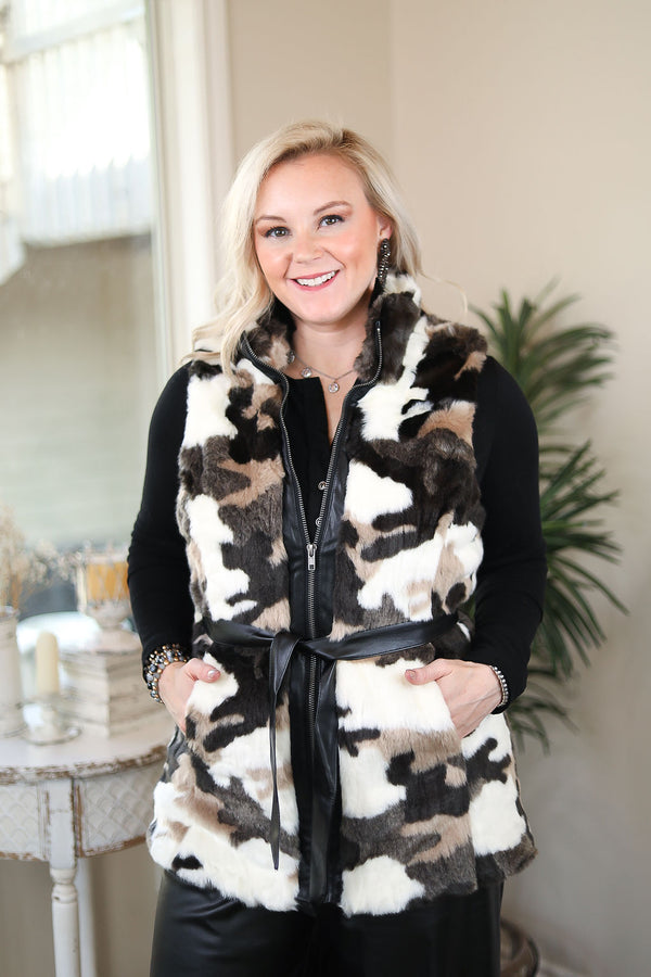 Snow Problems Camouflage Faux Fur Vest in Black