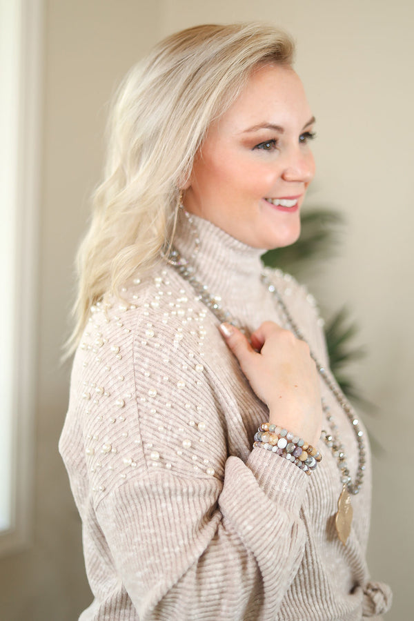 First Class Lady Brushed Knit Sweater Top with Pearl Details on the Shoulders in Taupe