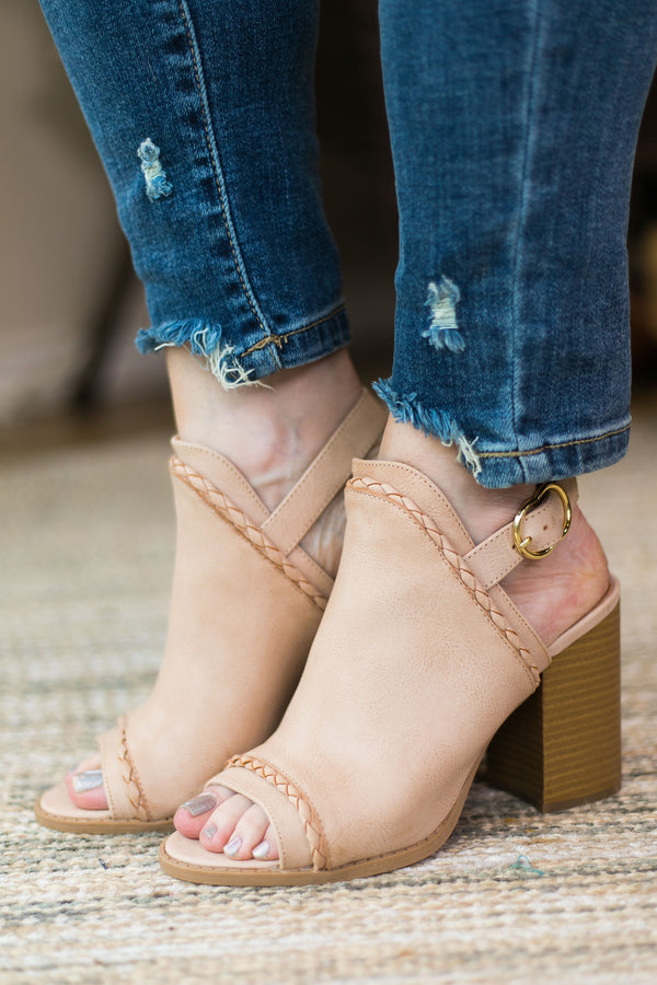 Too Good for You Peep Toe Mule Heels in Blush