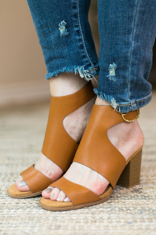 Walk Away Strappy Heeled Sandals in Camel
