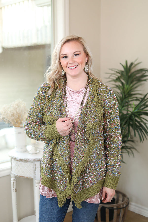 Online Exclusive | How To Dazzle Fringe Trim Tinsel Tweed Cardigan Jacket in Olive Green
