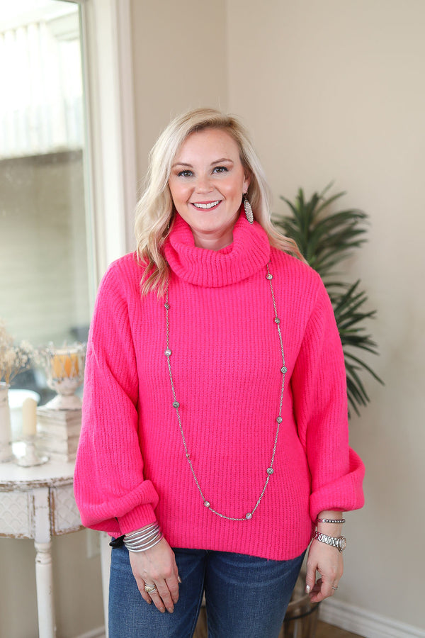 Take It As It Comes Neon Over Sized Knit Turtleneck Pullover Sweater in Hot Pink