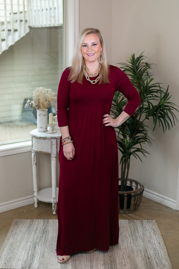 Picture Perfect Solid Maxi Dress in Maroon