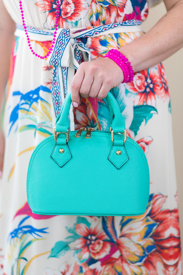 Designer Inspired Small Dome Satchel in Mint