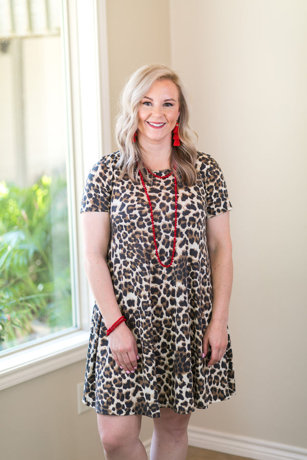 Constant Compliments Short Sleeve Tee Shirt Dress in Leopard