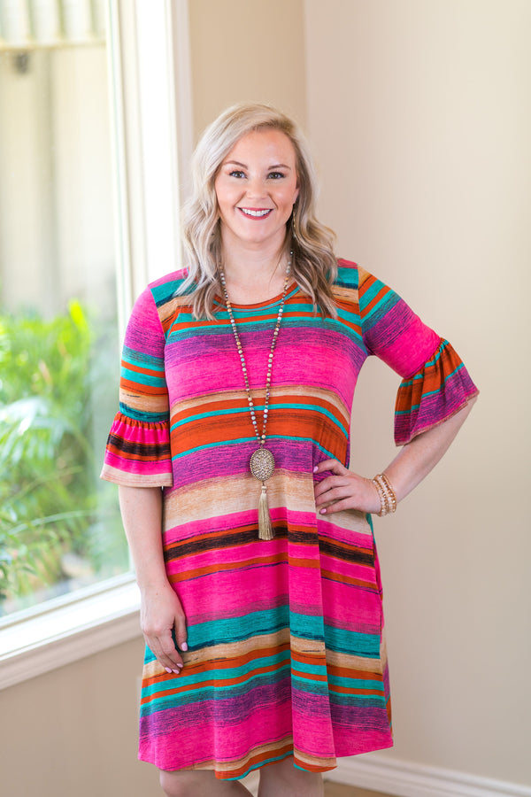 Pretty Please Serape Print Bell Sleeve Dress in Hot Pink dress with pockets ruffle stripe colorful vacation dress Mexico wedding attendant