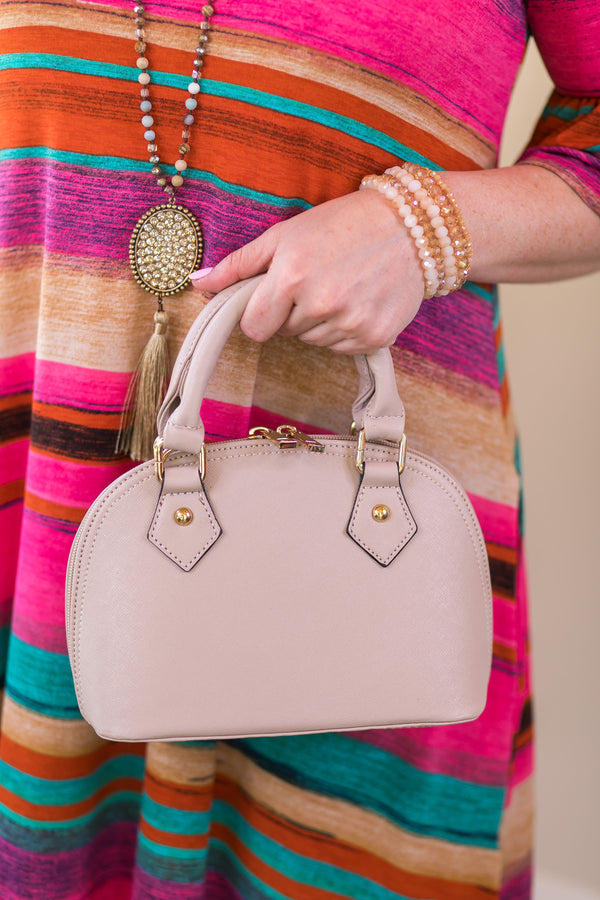 Designer Inspired Small Dome Satchel in Nude