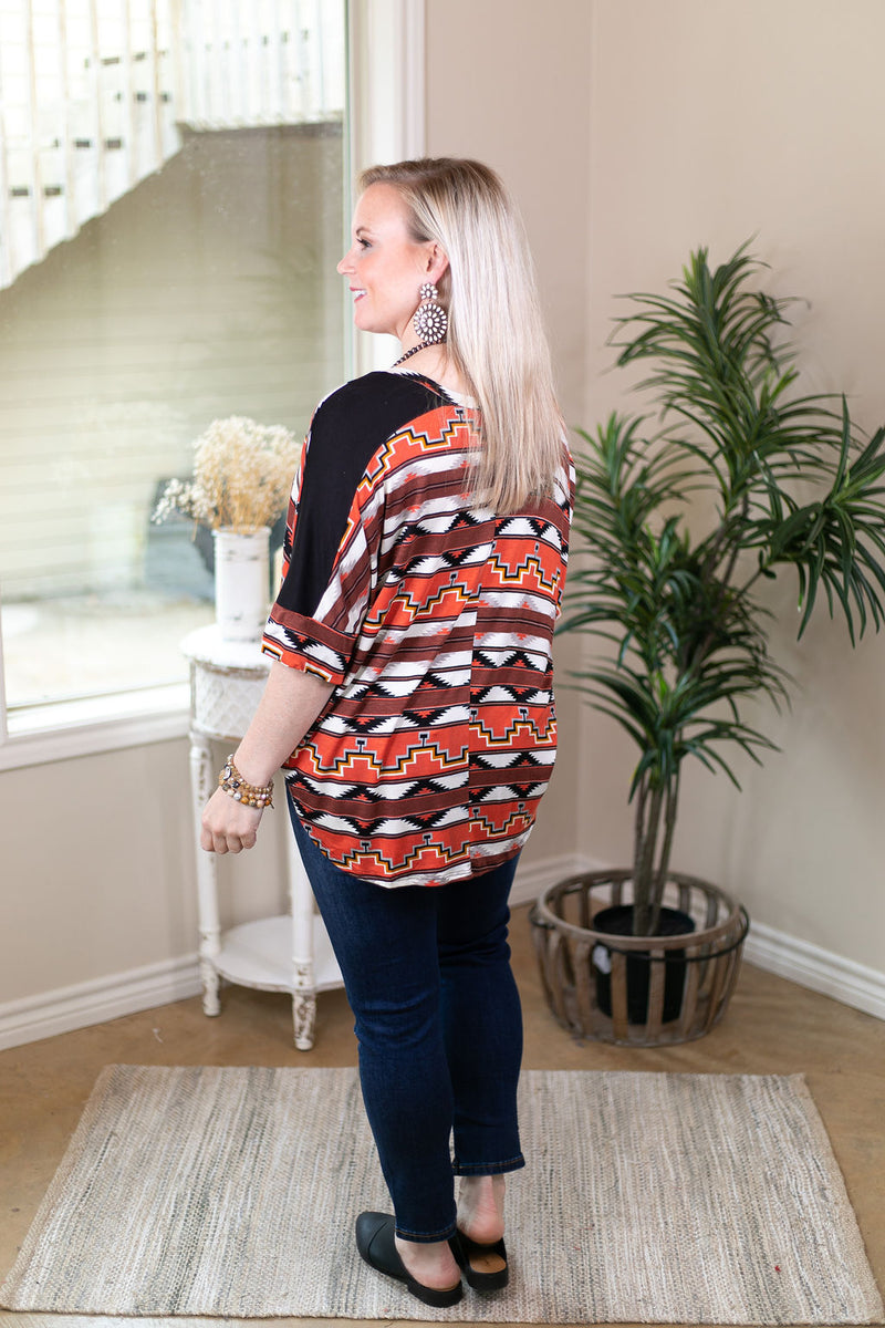 Day Dreamer Aztec Print Dolman Top in Red