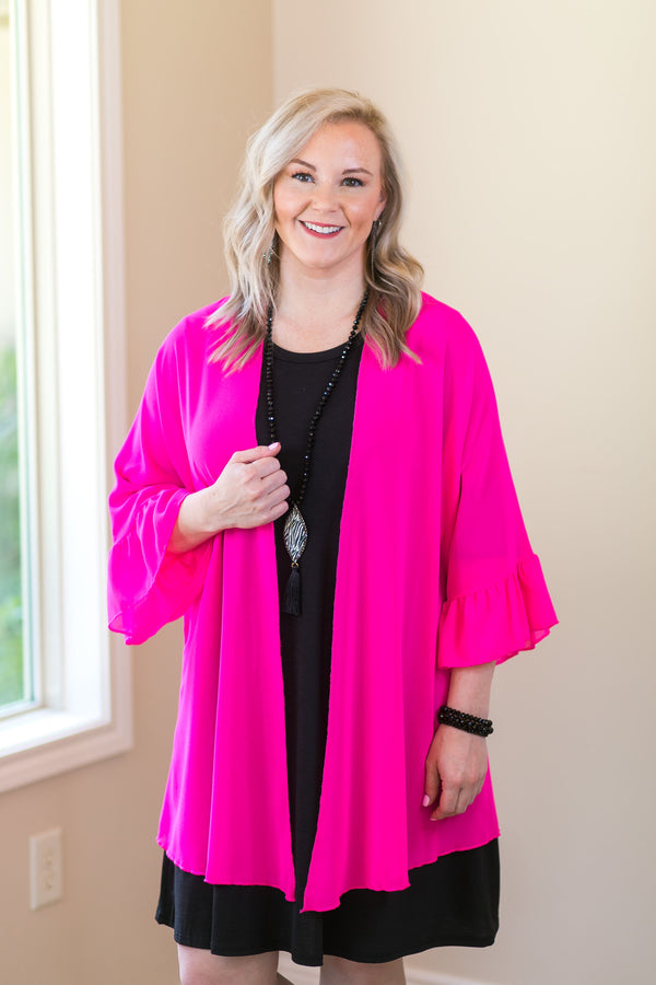 women's missy curvy girl fashions plus size kimono duster cover up boutique trendy sheer neon pink hot pink fuchsia