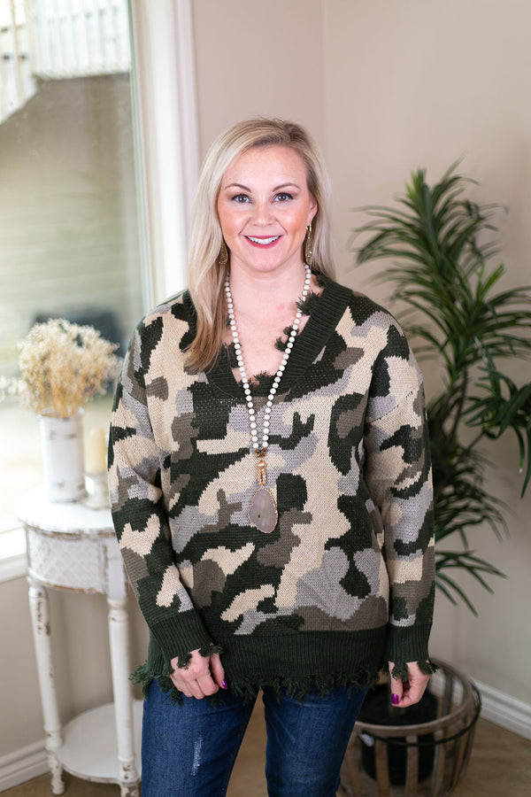 Not Your Average Girl V Neck Pullover Sweater with Tattered Edges in Camouflage