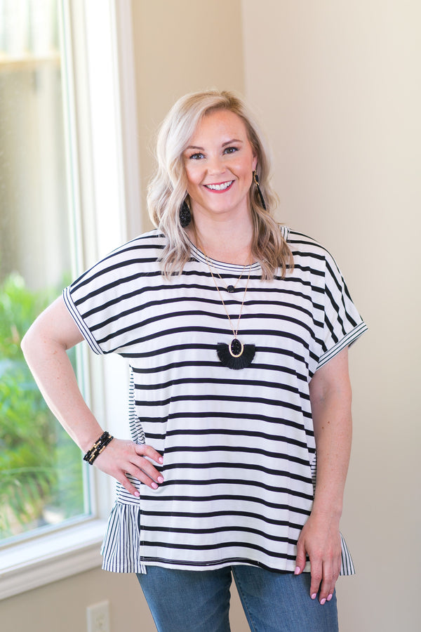 Umgee Notice Me Mixed Stripe Short Sleeve Top with Ruffled Hem in black and white Blue Women's trendy plus size boutique clothing affordable striped