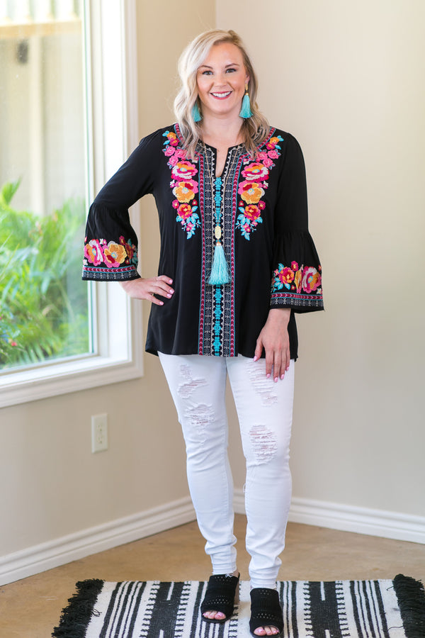 Andree by Unit Give Me Color Floral Embroidered Bell Sleeve Top in Black
