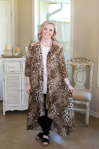 Fiercely You Leopard Print Kimono with Rose Gold Sequin Detail