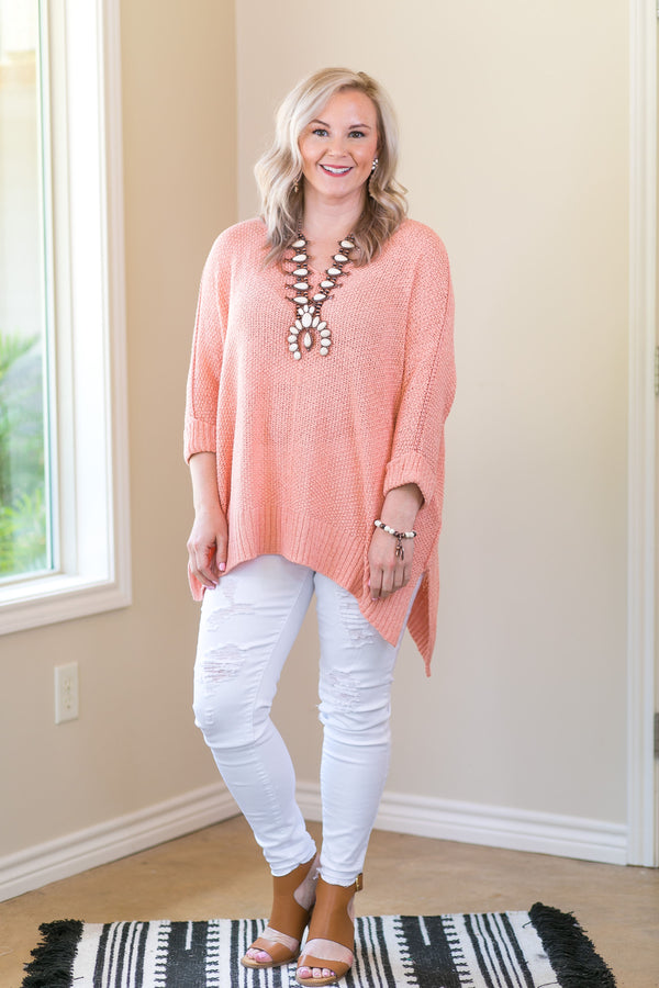 With All My Heart Oversized Knit Sweater in Peach Coral