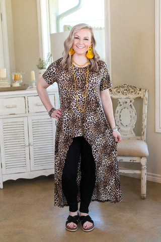 Think About It Short Sleeve High Low Tunic in Leopard