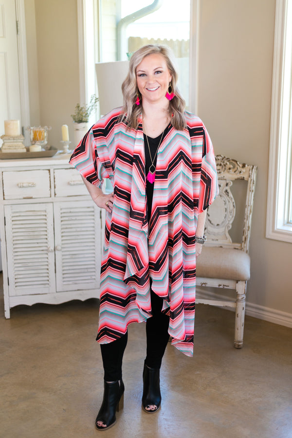 Online Exclusive | Play By Play Sheer Chevron Duster Kimono in Neon Pink