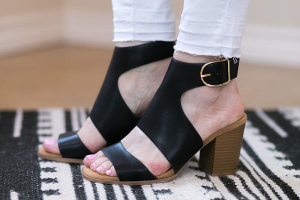 Walk Away Strappy Heeled Sandals in Black