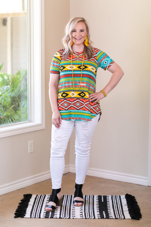 All The Chatter Aztec Print Short Sleeve Top in Multi