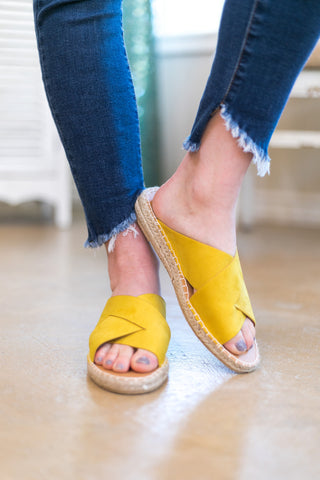 Must Adventure X Band Espadrille Sandals in Yellow