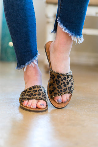 Very G | Posh Studded Slide On Sandal in Leopard
